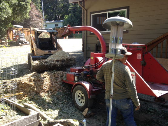 Branch chipper and skid steer loader in action